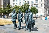 The Beatles statue at Pier Head in Liverpool - Stock Image