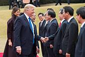 U.S President Donald Trump greets South Korean officials  during the formal arrival ceremony outside the Blue House November 7, 2017 in Seoul, South Korea. Trump is on the second stop of a 13-day swing through Asia. - Stock Image