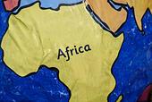 Handmade paper globe showing Africa. - Stock Image