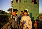Men on a sugar harvest train 15k south of New Qurna Egypt Nile Valley. - Stock Image