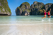two-girls-having-fun-at-maya-bay-koh-phi