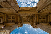 Low angle view of the Library of Celsus, Ephesus, Izmir, Turkey - Stock Image