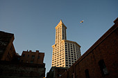 Smith Tower the oldest skyscraper in Seattle. Blue sky with sun lit airplane. Sunset. - Stock Image