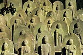 rows of Jizo statues Narita san Shinsho ji Temple - Stock Image
