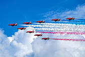 Royal Air Force Red Arrows display team at the Eastbourne International Airshow, August 2014 - Stock Image