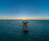 Historic or Old Seven Mile Bridge, with missing segment of The Overseas Highway, seen from Pigeon Key in the Florida - Stock Image