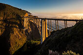 Bixby Bridge Pacific Coast Highway Big Sur California. Bixby Creek Canyon Bridge with coastal fog mist rolling in - Stock Image
