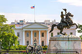 The White House Washington DC. Equestrian statue of Andrew Jackson in Lafayette Square and the North Portico - Stock Image