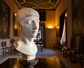 Marble bust of Roman emperor Trajan who was born in Sevilla Seville Spain. Palacio La Casa de Pilatos, Pilate's - Stock Image