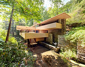 Fallingwater or Kaufmann Residence aka Falling Water is a house by architect Frank Lloyd Wright. - Stock Image