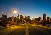 Minneapolis downtown skyline at night from Stone Arch Bridge. Minneapolis Minnesota. - Stock Image