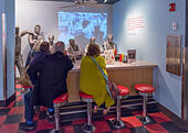 The Woolworth lunch counter from the Greensboro sit-ins,  National Civil Rights Museum, Memphis,Tennessee, USA - Stock Image