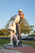 Sarasota, FL - March 28, 2019: The statue Unconditional Surrender by Seward Johnson is a popular tourist landmark in Sarasota.  Multiple copies exist  - Stock Image