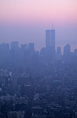 New York historic view. Lower Manhattan at sunset with the Twin Towers of the NYC NY WTC in the background. - Stock Image