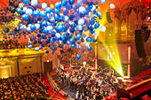Amsterdam Concertgebouw. Traditional New Year's concert by the Nederlands Blazers Ensemble (Netherlands Wind Ensemble) in the Concertgebouw Amsterdam - Stock Image