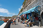 Shop on clifftop path, Sant Angelo, Ischia, Bay of Naples, Italy - Stock Image